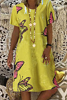 Cotton And Linen Butterfly Print Pocket Dress