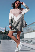 High Neck  Patchwork  Long Sleeve Casual Dresses