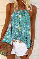 Bohemian sleeveless print T-shirt