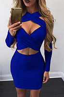 Surplice  Hollow Out Plain  Long Sleeve Bodycon Dresses
