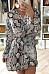 V Neck  Animal Printed  Long Sleeve Skater Dresses