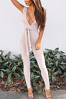 Deep V Neck  Plain  Extra Short Sleeve Jumpsuits