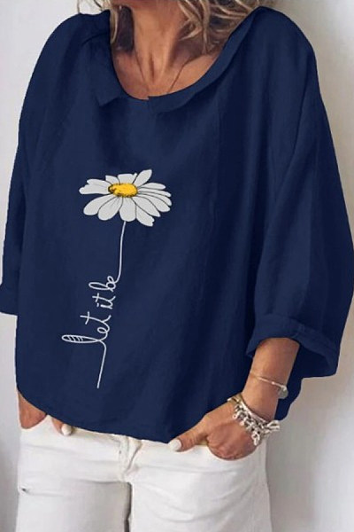 Christian Flower Loose Casual Blouse