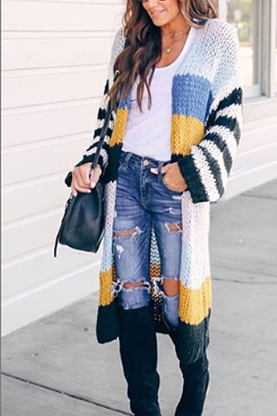 Casual Daily Multicolor Off Shoulder Neck Cardigan