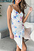 Spaghetti Strap  Asymmetric Hem  Printed  Sleeveless Bodycon Dresses