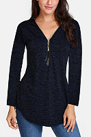 Zipper V Neck Tassels Long Sleeve Plain T-Shirts
