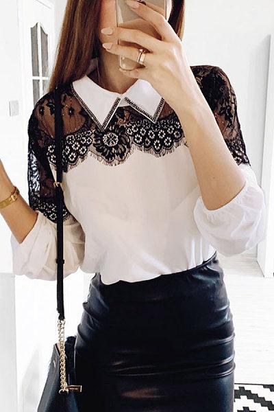 Button Down Collar Lace Patchwork Blouse