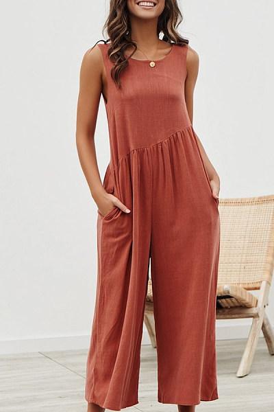 Round Neck  Backless  Plain  Sleeveless Jumpsuits