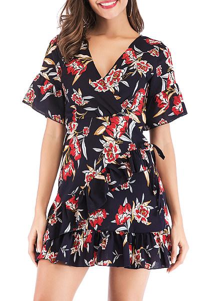 V Neck  Print  Short Sleeve Skater Dresses