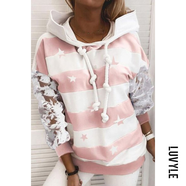 Pink Star Striped Lace Sleeve Hoody Pink Star Striped Lace Sleeve Hoody