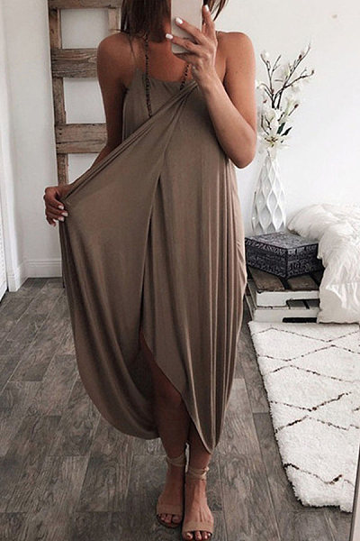Round Neck Sleeveless Solid Dress
