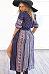 Deep V Neck Single Breasted Printed Maxi Dresses