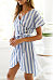 V Neck  Belt  Striped  Short Sleeve Casual Dresses