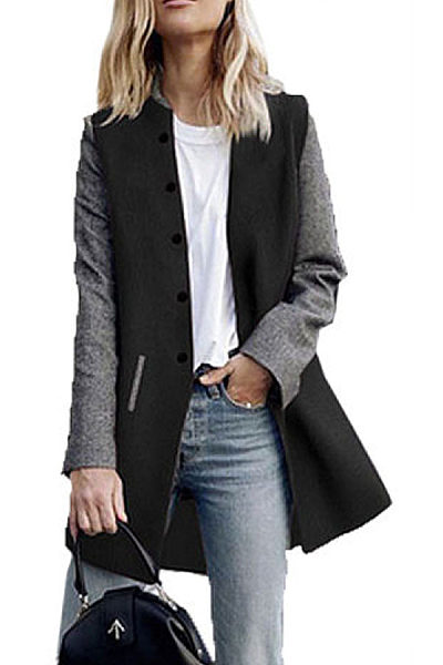 Single Breasted  Color Block Outerwear