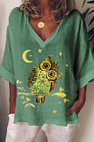 Loose Print Owl V-neck T-shirt