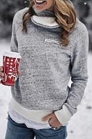 Asymmetric  Neck  Plain  Sweatshirts
