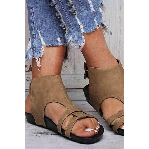 Plain  Flat  Peep Toe  Casual Outdoor Flat Sandals