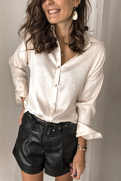 Fashion Lapel Single-Breasted Long Sleeve Shirt	 BJ31
