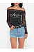 Hollow Out Patchwork Printed Sexy Round Neck Long-Sleeve-T-Shirt