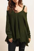 V Neck  Asymmetric Hem Tassel  Plain Sweaters