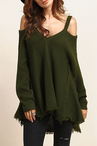 V Neck  Asymmetric Hem Tassel  Plain Sweaters