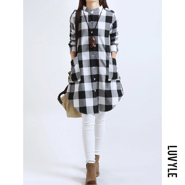 Black Plaid Band Collar Patch Pocket Curved Hem Shift Dress Black Plaid Band Collar Patch Pocket Curved Hem Shift Dress