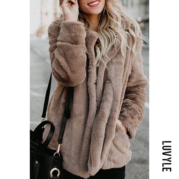 Fashion Lapel Long Sleeve Pocket Fur Coats
