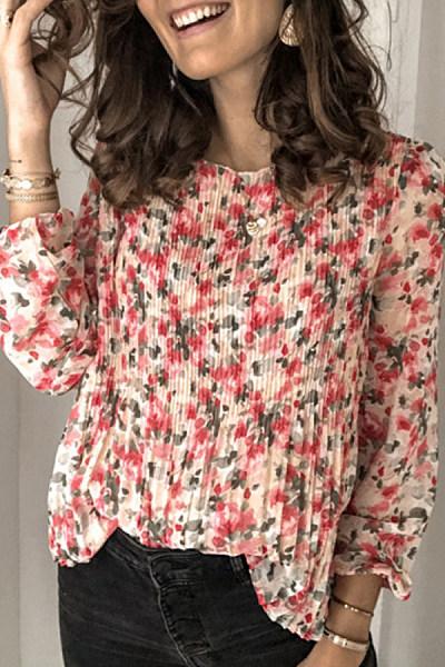 Women's Sweet Round Neck Long Sleeve Print Blouse