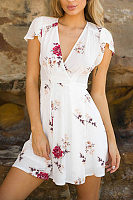 Deep V Neck  Floral Printed  Extra Short Sleeve Casual Dresses