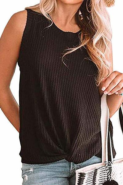 Casual Hem Twist Round Collar T-Shirt