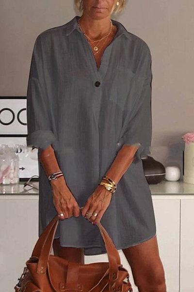 Mid-length V-neck Cotton Long-sleeved Shirt
