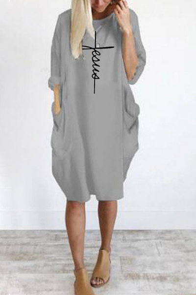 Round Neck Pockets Printed Casual Dress