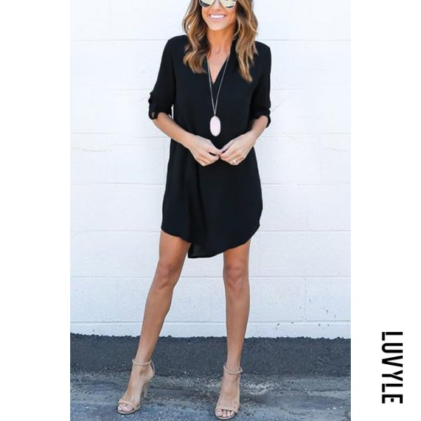 Black Black Chiffon Asymmetric Hem Plain Shift Casual Dresses Black Black Chiffon Asymmetric Hem Plain Shift Casual Dresses