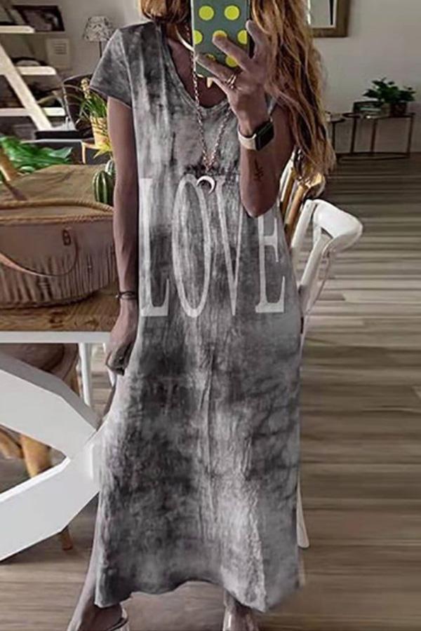 Summer Look - Cute Beach Casual Loose Maxi Dres in Grey Batik