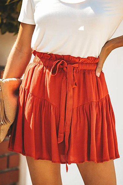 Loose Fitting  Plain  Basic Skirts