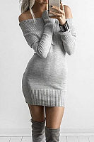 Off Shoulder  Plain Bodycon Dresses