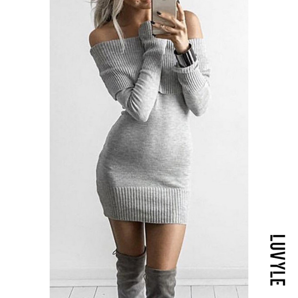 Gray Off Shoulder Plain Bodycon Dresses Gray Off Shoulder Plain Bodycon Dresses