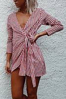 Deep V Neck  Asymmetric Hem  Belt  Checkered  Half Sleeve Casual Dresses