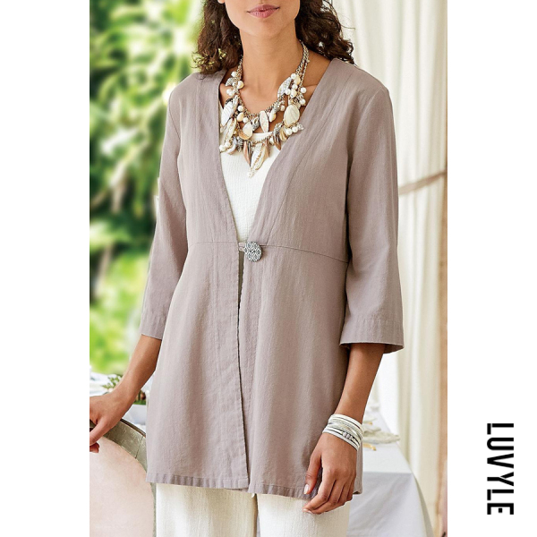 V Neck Decorative Buttons Outerwear - from $24.00