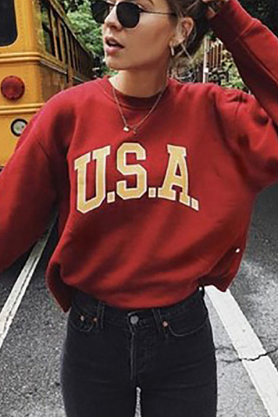 Casual Letter Printed Loose Sweatshirts