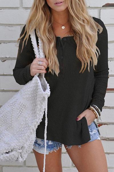 Casual Long Sleeve Knit T-Shirt