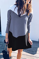 Round Neck  Color Block  Long Sleeve Casual Dresses