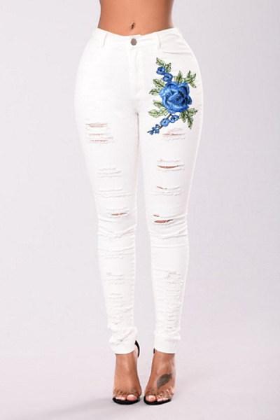 Demin  Cutout  Floral  Jeans