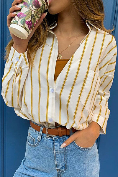 Women casual striped long-sleeved blouse