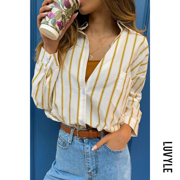 Long-sleeve | Casual | Blouse | Stripe | Women