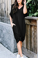 V Neck  Plain  Short Sleeve Maxi Dresses