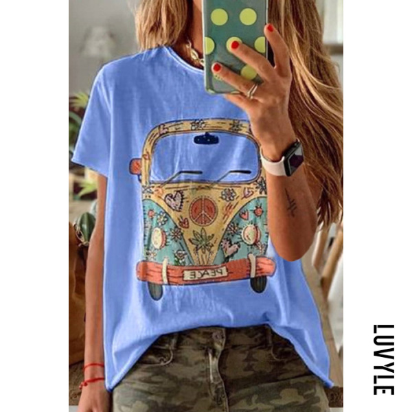 Blue Round Neck Printed Colour T-Shirt Blue Round Neck Printed Colour T-Shirt