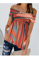 Casual Shoulder Short Sleeve Striped Blouse