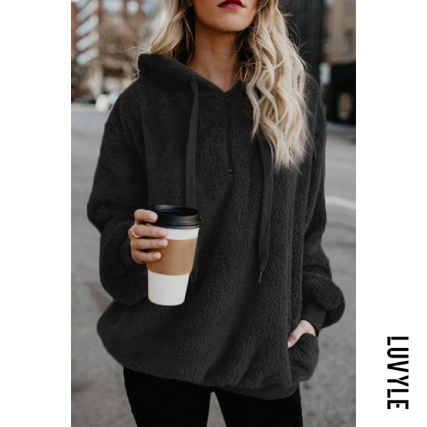 Black Hooded Polyester Casual Plain Hoodies Black Hooded Polyester Casual Plain Hoodies