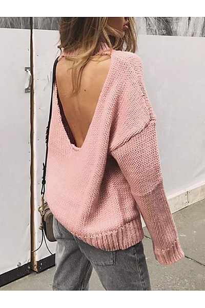 Casual Round Neck Backless Plain Sweater